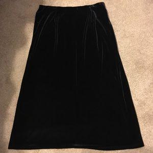 NWT Laura Scott Black Velvet Skirt